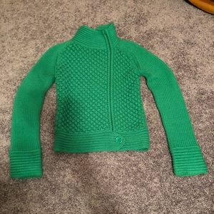 Zip up with big button clover green sweater